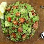 Broccoli rice, avocado and smoked salmon salad